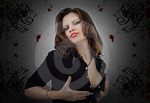 Beautiful Brunette In A Black Dress Stock Photography - Image: 6033782
