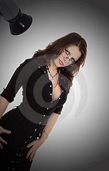 Beautiful Brunette In A Black Dress Stock Photography - Image: 6033852