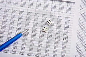 Blue Pen And Dice Royalty Free Stock Photography - Image: 6037667