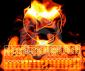 Play Button On Fire. Royalty Free Stock Photography - Image: 6037927