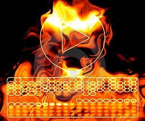 Tasto Di Riproduzione Su Fuoco. Fotografia Stock Libera da Diritti - Immagine: 6037927