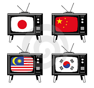 Set Of Tv With Asian Flags Stock Images - Image: 6045644