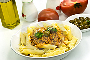 Spaghetti Bolognese With Parmesan Cheese And Olive Stock Photos - Image: 6046863