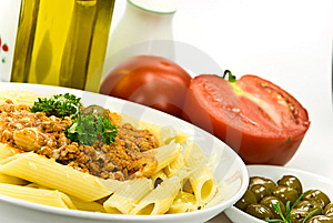 Spaghetti Bolognese With Parmesan Cheese And Olive Royalty Free Stock Image - Image: 6046886
