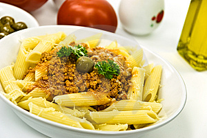 Spaghetti Bolognese With Parmesan Cheese And Olive Stock Photo - Image: 6046890