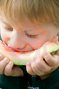 Boy Savors Watermelon Royalty Free Stock Images - Image: 6049969