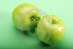 Green Apples On Green Background Stock Photo - Image: 6054420