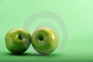 Green Apples On Green Background Royalty Free Stock Photography - Image: 6054427
