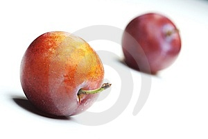 Plums On White Background Royalty Free Stock Images - Image: 6055749