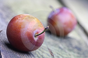 Plums On Wooden Background Stock Images - Image: 6055784