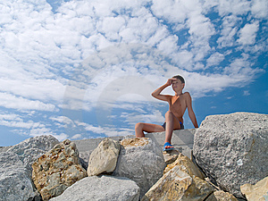Child On Stones Stock Images - Image: 6058704