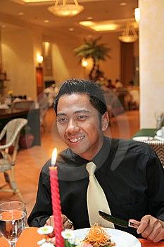 Man Having Dinner In Restaurant Stock Photo - Image: 6060700