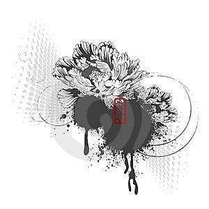 Peony Design Element Stock Image - Image: 6070131