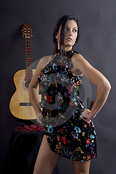Beautiful Flamenco Dancer With Black Background Stock Photos - Image: 6070333