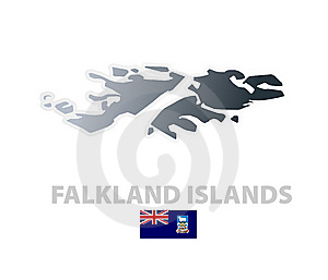Falkland Islands Map With Official Flag Stock Photos - Image: 6084893