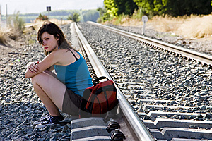 Backpacker Taking A Brake In The Shadow Stock Image - Image: 6085161