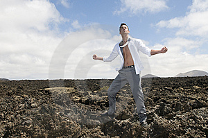 Angry And Stressed Businessman On The Lava Of A Vu Royalty Free Stock Photo - Image: 6086365