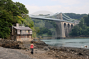 Menai Suspension Bridge Stock Image - Image: 6090661
