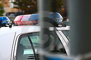 A police siren unit thru gate Royalty Free Stock Photography