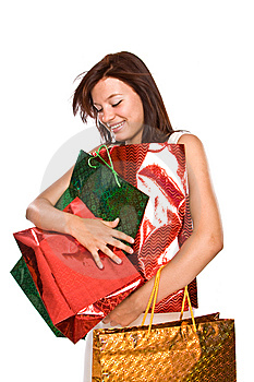 The Young Girl With Packages After Shopping. Stock Photography - Image: 6101502