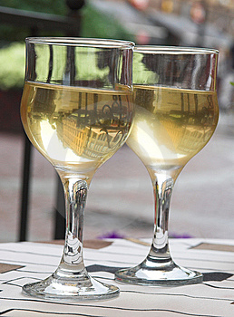 Cool White Wine For A Supper Stock Image - Image: 6103561