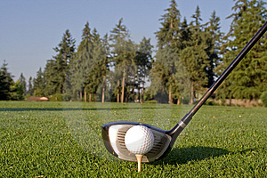Golf Driver and Ball - Horizontal Stock Image