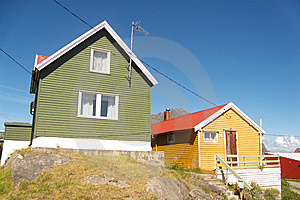 Henningsvaer In Lofoten's  Colored Houses Royalty Free Stock Photos - Image: 6112438