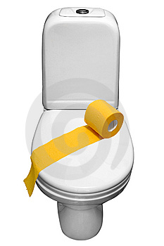 White Porcelain Lavatory Pan  And Toilet-paper. Stock Photos - Image: 6115133