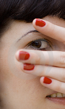 Looking Through Fingers Royalty Free Stock Photo - Image: 6119555