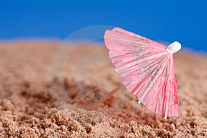 Red Parasol On Beach Sand With Blue Sky Background Royalty Free Stock Image - Image: 6119906