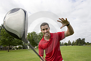 Man With Golf Club - Horizontal Royalty Free Stock Image - Image: 6120886