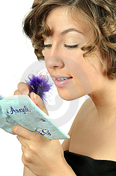 Pretty Young Girl Writes In Notebook Royalty Free Stock Images - Image: 6122059
