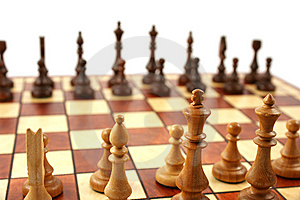 Wooden Chess On Wooden Chessboard Stock Photos - Image: 6126653