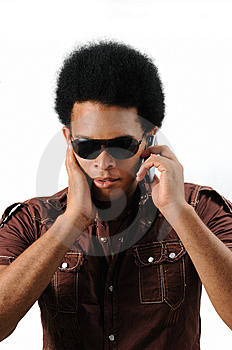Latino Man Using Cell Phone Stock Images - Image: 6130584