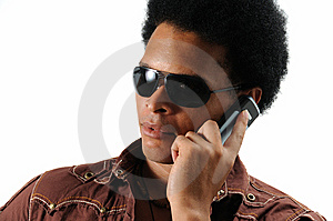 Trendy Man Using Cell Phone Royalty Free Stock Images - Image: 6130609