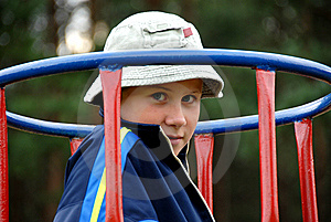 Boy On The Playground Stock Image - Image: 6134161