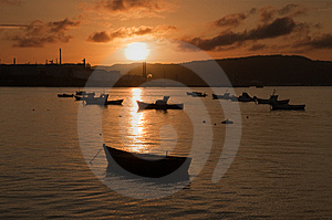 Boats In The Inlet At Sunset Stock Photography - Image: 6134382