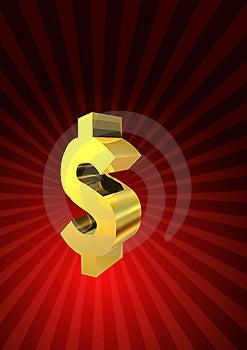 Golden Dollar Symbol Stock Images - Image: 6136744