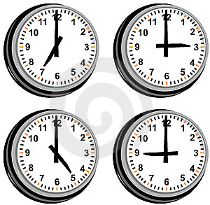 Clock Showing Different Times Stock Photography - Image: 6139522