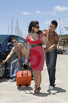 Man Changing A Wheel Of A Beautiful Woman Car Stock Images - Image: 6139704