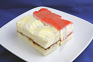 2 Cake Pieces In Plate Royalty Free Stock Image - Image: 6147596