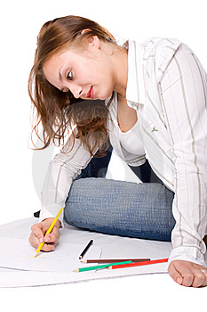 Beautiful Girl Is Drawing With Crayons. #6 Stock Photo - Image: 6148040