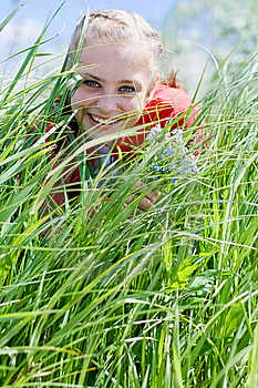 Beautiful Girl Gathering Flowers. #4 Stock Photo - Image: 6148080