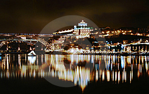 Douro River In Porto At Night Royalty Free Stock Photos - Image: 6149898
