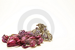 Violet Beads With Hairpin Stock Image - Image: 6153641