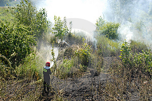 Fireman Fighting A Heath Fire Stock Photos - Image: 6154653