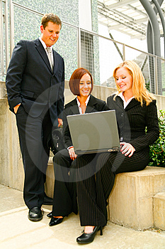 Paying Attention To Laptop Stock Image