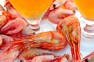 Beer And Shrimps (prawns). Stock Photos - Image: 6174313