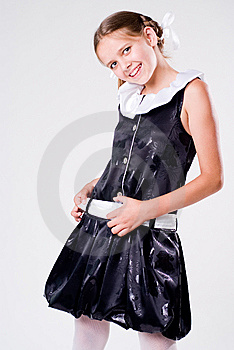 Posing Schoolgirl In Dress Royalty Free Stock Photos - Image: 6175628