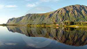 Lofoten'smounts Mirroring At Midnght Royalty Free Stock Image - Image: 6176596